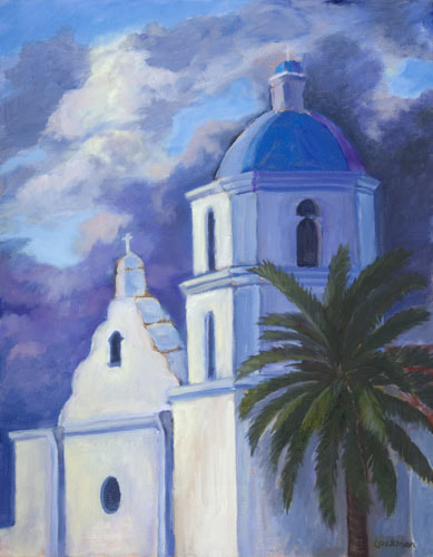 Evening at Mission San Luis Rey by Terry Lockman